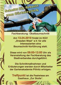 Fachberatung Obstbaumschnitt am 13. April 2019